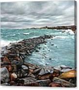 Storm In Rockport Harbor Canvas Print