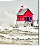 Stormy At Grand Haven Light Canvas Print