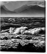 Stormy Coast New Zealand In Black And White Canvas Print