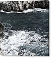 Mediterranean Sea And Rocks Sculpted By Wind And Salt In South Of Menorca Canvas Print
