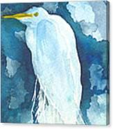 Stormy Egret Canvas Print