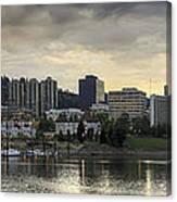 Stormy Sky Over Portland Skyline Panorama Canvas Print