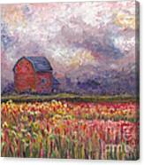 Stormy Sunflower Farm Canvas Print