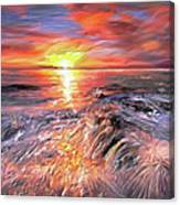Stormy Sunset At Water's Edge Canvas Print