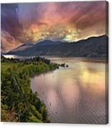 Stormy Sunset Over Columbia River Gorge At Hood River Canvas Print