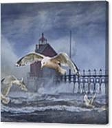 Stormy Weather At The Grand Haven Lighthouse Canvas Print