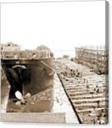Str. Harvard In The Slip, Detroit, Harvard Freighter, Cargo Canvas Print