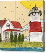 Stratford Pt Lighthouse Ct Nautical Chart Map Art Canvas Print