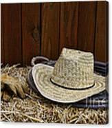 Straw Hat  On  Hay Canvas Print