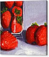 Strawberries And Glass Canvas Print