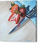 Strawberries With Knife Canvas Print