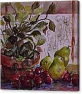 Strawberry Afternoon W/ Pears Canvas Print