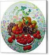 Strawberry And Grapes Canvas Print