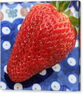 Strawberry On Blue Plate Canvas Print