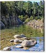 Stream And Rocks At Bavella In Corsica Canvas Print