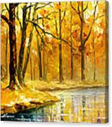 Stream In The Forest - Palette Knife Oil Painting On Canvas By Leonid Afremov Canvas Print
