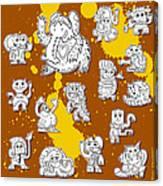 Street Art Doodle Creatures Urban Art Canvas Print