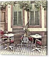Street Cafe In Heidelberg Canvas Print
