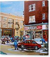 Street Hockey On Monkland Avenue Paintings Of Montreal City Scenes Canvas Print