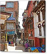 Street In Bhaktapur-city Of Devotees-nepal  Canvas Print