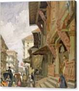 Street In Bombay, From India Ancient Canvas Print