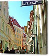 Street In Old Town Tallinn-estonia Canvas Print