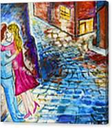 Street Kiss By Night  Canvas Print
