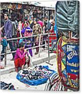 Street Market View From A Rickshaw In Kathmandu Durbar Square-nepal Canvas Print