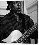 Street Musician Black And White Canvas Print