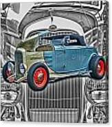 Street Rod In Grill Canvas Print