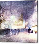 Street Scene At Dusk Canvas Print