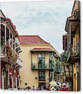 Street Scene In Old Town, Cartagena Canvas Print