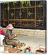 Street Shopkeeper In Lhasa-tibet Canvas Print