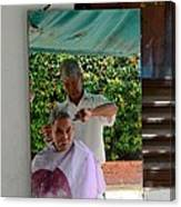 Street Side Barber Cuts Client Hair Singapore Canvas Print