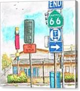 Street Signs In Route 66, San Bernardino, California Canvas Print