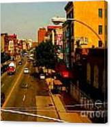 Street With Bus Stop Canvas Print