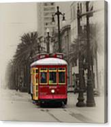 Streetcar On Canal Street - New Orleans Canvas Print