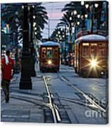 Streetcars On Canal Street Canvas Print