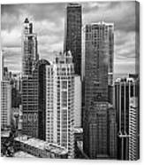 Streeterville From Above Black And White Canvas Print