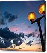Streetlamp And Cloudy Nightsky Canvas Print