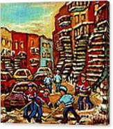 Streets Of Verdun Paintings He Shoots He Scores Our Hockey Town Forever Montreal City Scenes  Canvas Print