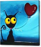 Stressie Cat And Her Love Balloon Canvas Print