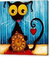 Stressie Cat And The Tick Tock Canvas Print