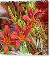 Striking Daylilies - Digital Art Canvas Print