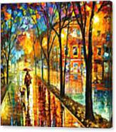 Stroll With My Best Friend - Palette Knife Oil Painting On Canvas By Leonid Afremov Canvas Print