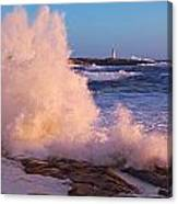 Strong Winds Blow Waves Onto Rocks Canvas Print