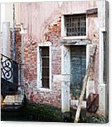 Stucco And Brick Canalside Building Venice Italy Canvas Print