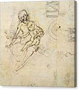Studies For A Virgin And Child And Of Heads In Profile And Machines, C.1478-80 Pencil And Ink Canvas Print