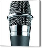 Studio Shot Of Microphone On White Canvas Print