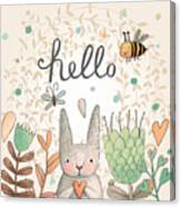 Stunning Card With Cute Rabbit Canvas Print